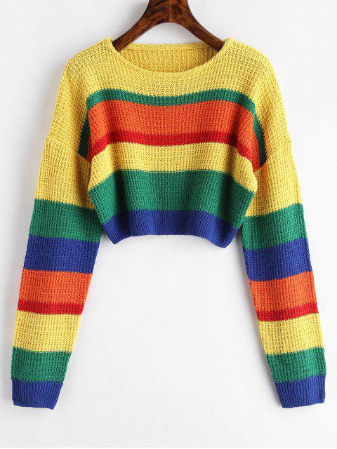 Colorblock Crop Sweater - Multicolor Talla única Mobile