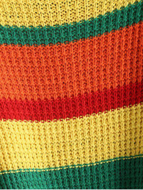 best Drop Shoulder Colorblock Crop Sweater - MULTI ONE SIZE Mobile