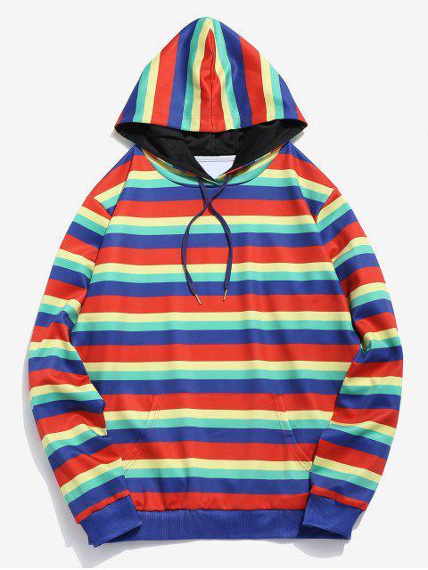 women's ZAFUL Rainbow Striped Print Pocket Hoodie - MULTI S Mobile