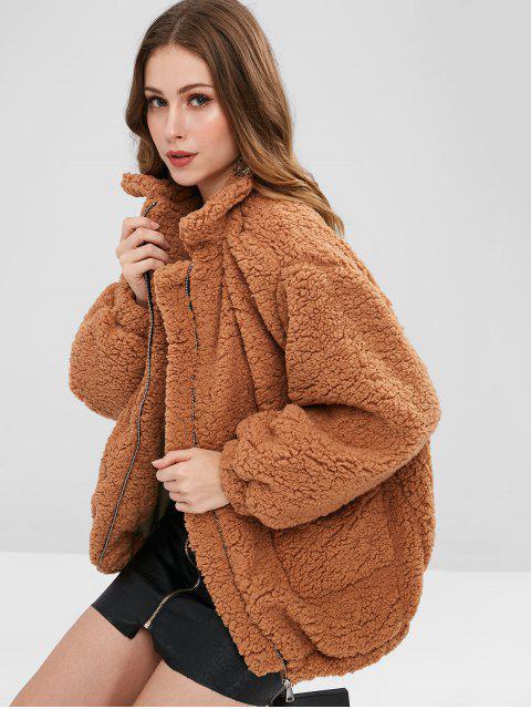 Manteau Teddy avec Poche Fendue en Fausse Fourrure - Brun Légère S Mobile