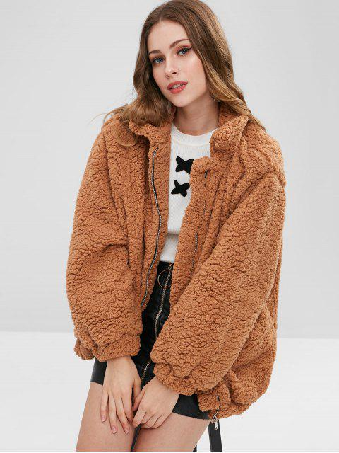 outfit Slip Pockets Faux Fur Teddy Coat - LIGHT BROWN S Mobile