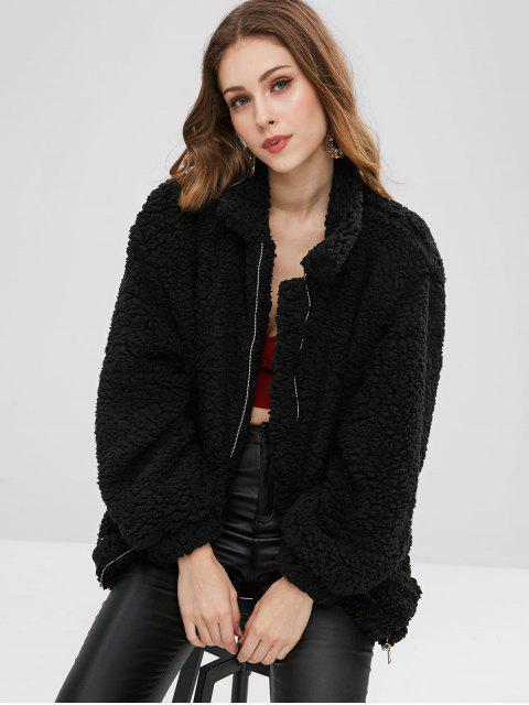 Manteau Fendu en Fausse Fourrure avec Poches - Noir L Mobile