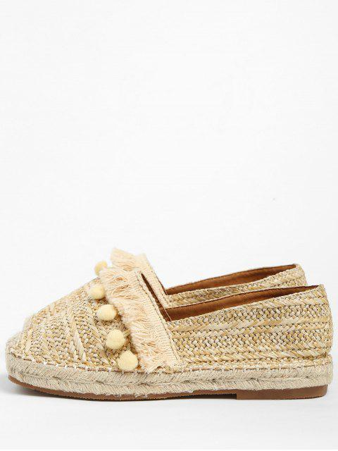 lady Beach Pom Pom Woven Straw Loafer Shoes - APRICOT 37 Mobile