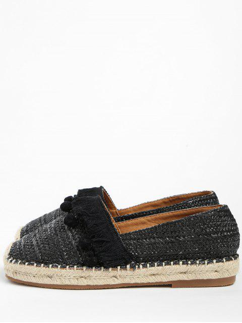 online Beach Pom Pom Woven Straw Loafer Shoes - BLACK 37 Mobile