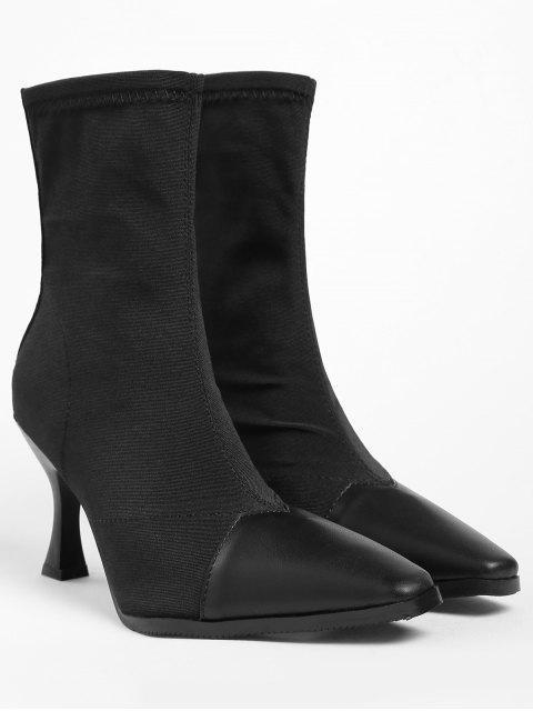 unique ZAFUL Contrasting Pointed Toe Cap Stiletto Heel Short Boots - BLACK 39 Mobile