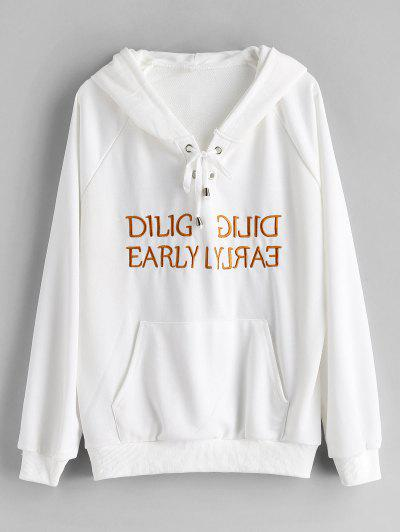 Lace Up Graphic Embroidered Hoodie - White M
