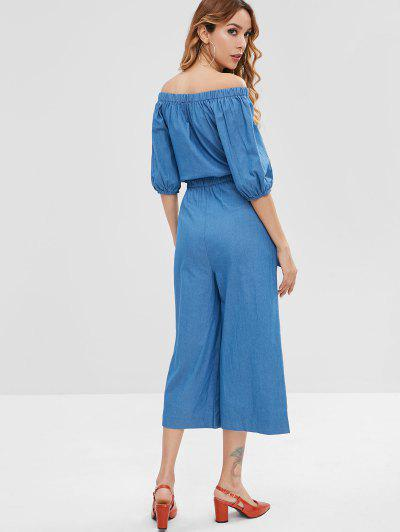 ZAFUL / Wide Leg Off Shoulder Denim Jumpsuit