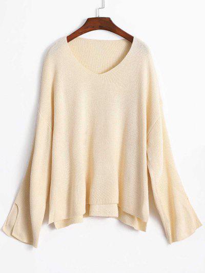 8907439cc5c Slit Sleeve Oversize Sweater - Warm White ...