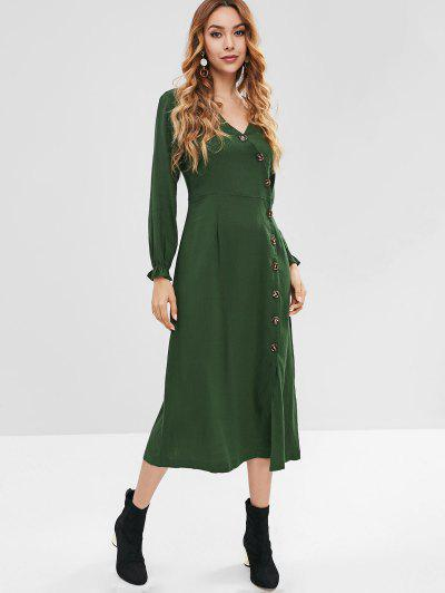 f38390800 ZAFUL Button Up Casual Midi Dress - Deep Green S ...