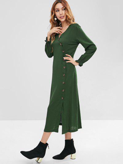 7859e0e3a ... ZAFUL Button Up Casual Midi Dress - Deep Green S