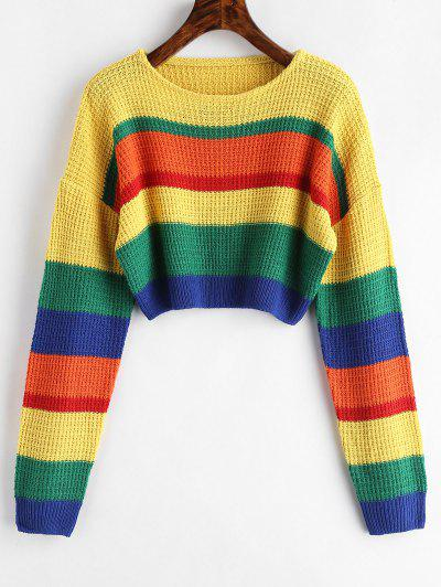 Drop Shoulder Colorblock Crop Sweater - Multi
