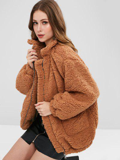 Slip Pockets Faux Fur Teddy Coat - Light Brown M