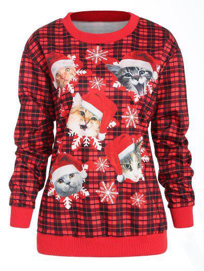 Sudadera Con Cuadros De Navidad Cat Print - Rojo S