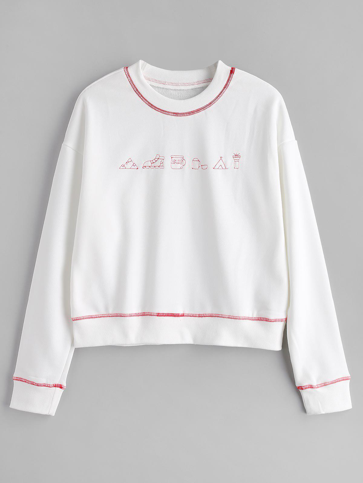Cute Contrasting Graphic Sweatshirt