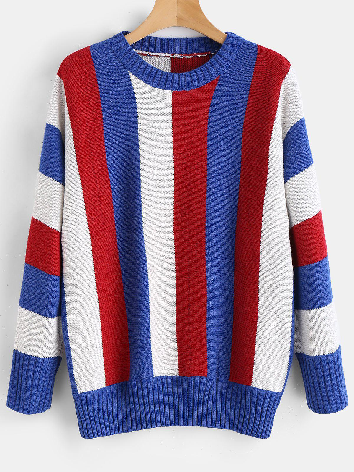 Ribbed Detail Color Block Sweater