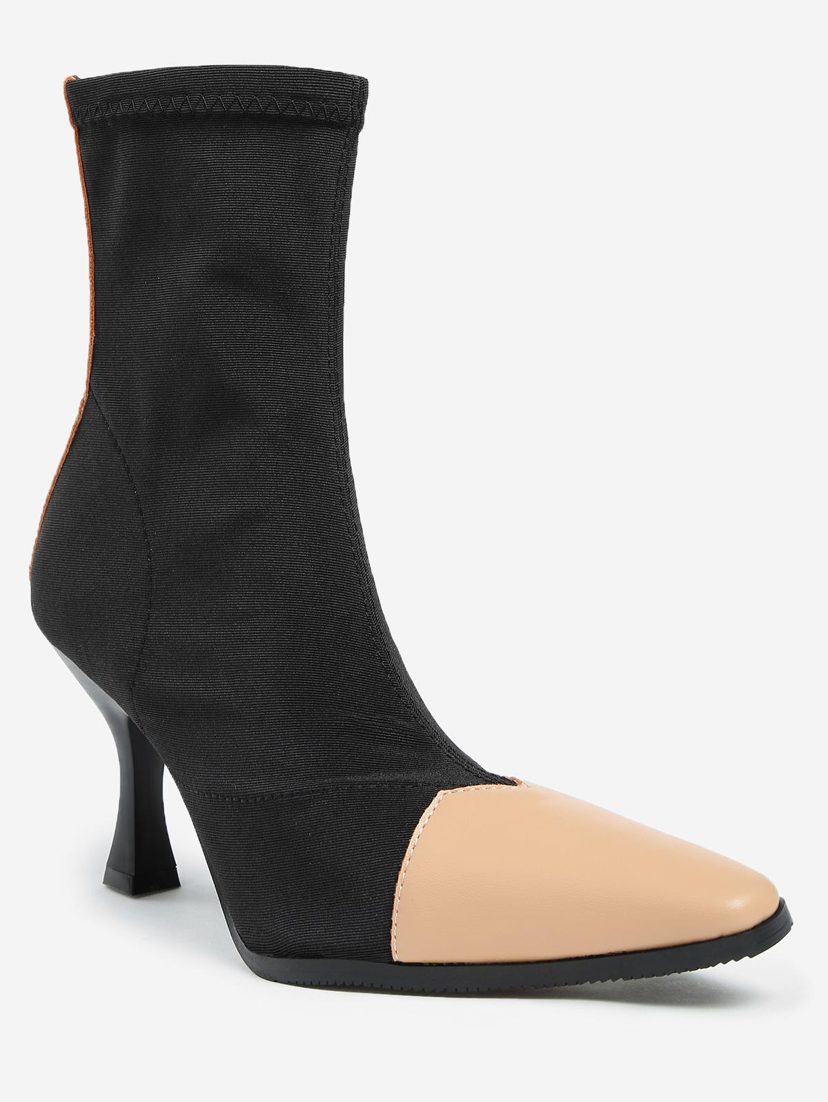 ZAFUL Contrasting Pointed Toe Cap Stiletto Heel Short Boots