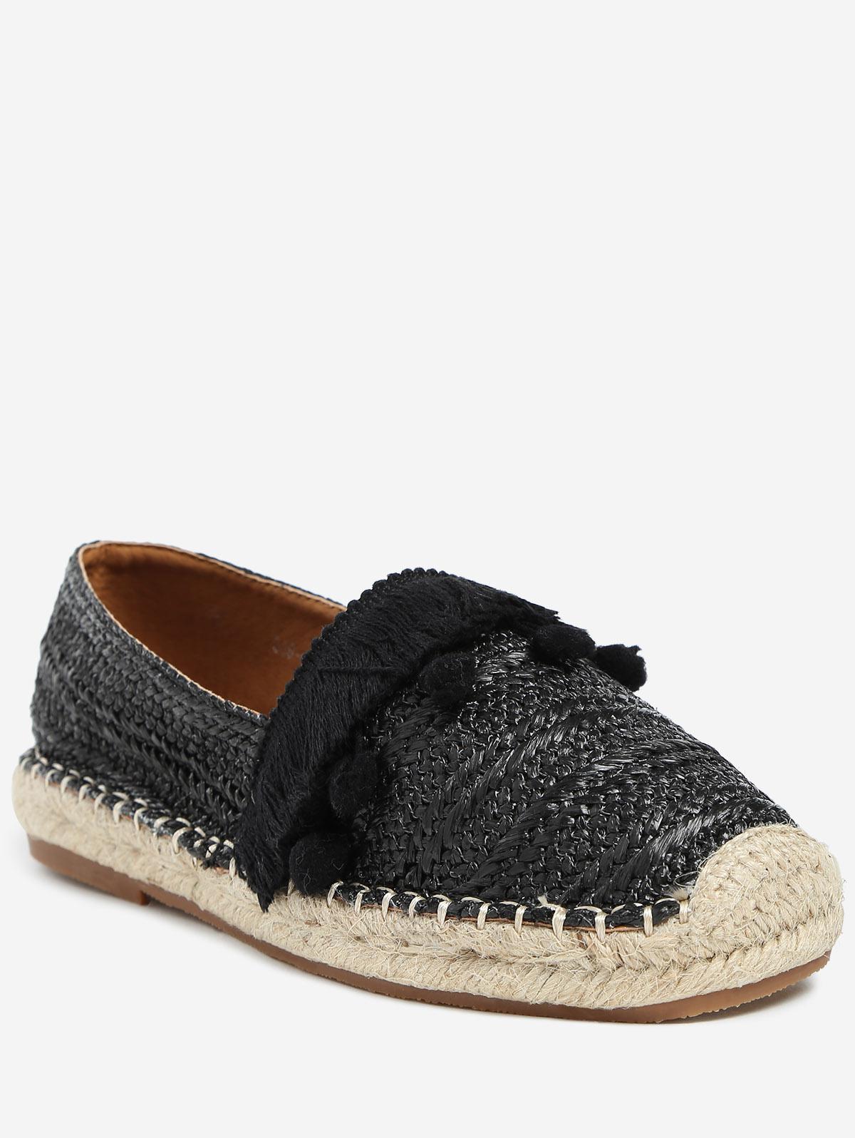Beach Pom Pom Woven Straw Loafer Shoes