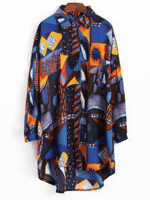 فستان بنمط قميص مطبع - متعدد
