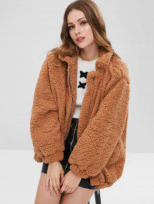 8b32eebc3ce 53% OFF  2019 Slip Pockets Faux Fur Teddy Coat In LIGHT BROWN L ...