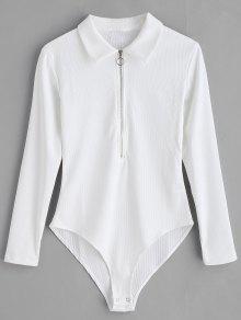 نصف الرمز البريدي الأكمام الطويلة Bodysuit - أبيض L