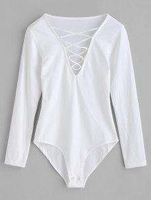 الأكمام الطويلة الدانتيل متابعة ارتداءها - أبيض M