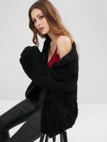 جيوب زغب فو الفراء معطف - أسود S