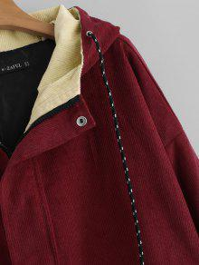 57 Off 2018 Hooded Color Block Corduroy Jacket In Cherry Red M Onful