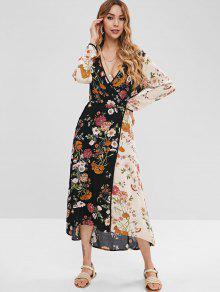 لف فستان الأزهار - متعدد M