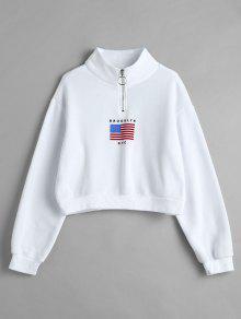 العلم الأميركي الرمز البريدي موك الرقبة البلوز - أبيض S