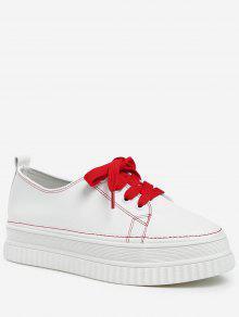 على النقيض من الرباط PU منصة أحذية جلدية - كستنائي أحمر 39 -