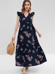 فستان مكسي بطبعات ازهار - ازرق غامق M