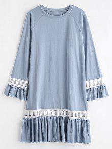 الكشكشة الكروشيه تريم فستان عارضة - ازرق رمادي