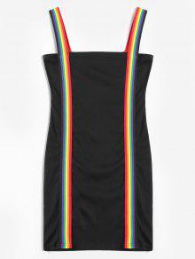 قوس قزح شريط ميني اللباس Bodycon - أسود M