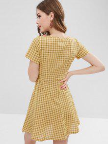 00ed4cf9c12 23% OFF  2019 Tie Waist Tartan Dress In YELLOW