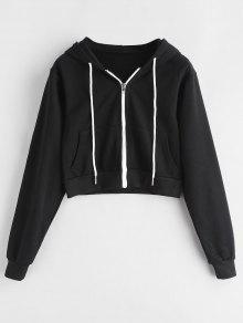 2019 Cropped Zip Up Hoodie In Black M Zaful