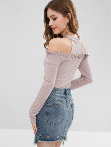fa2630855b05dc 44% OFF  2019 Ruched Ribbed Cold Shoulder Knitwear In LAVENDER ...
