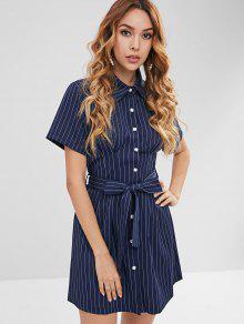 فستان بنمط قميص مخطط مع حزام التعادل - ازرق غامق