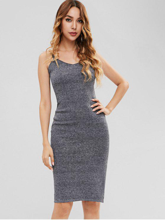 fancy Heathered Knitted Bodycon Dress - DARK GRAY ONE SIZE
