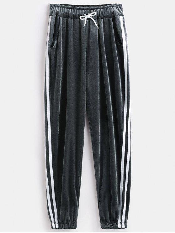 sale Stripes Trim Velvet Jogger Pants - GRAY ONE SIZE