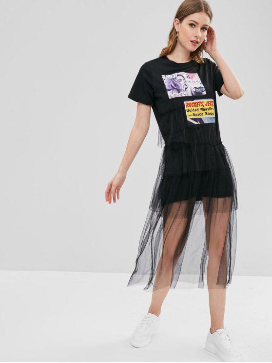 affordable Patch Tiered Tulle Dress - BLACK S