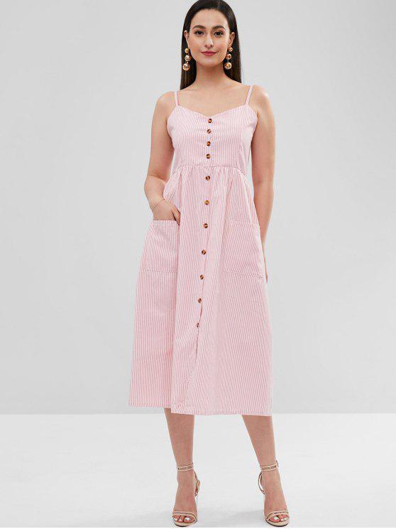 women Striped Shirred Waist Cami Dress - MULTI M