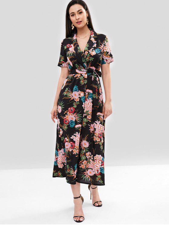 ladies Flower Belted Surplice Dress - BLACK S
