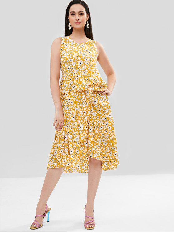 best Tiny Floral Ruffles Midi Dress - MUSTARD XL