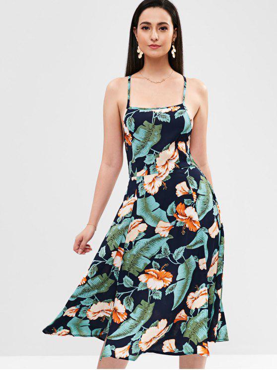 online Cross Strap Backless Flower Print Dress - MULTI M