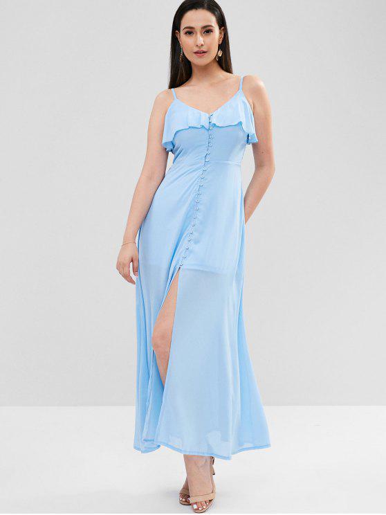Maxi Robe à Bretelle Boutonnée à Volants - Bleu de Ciel  S