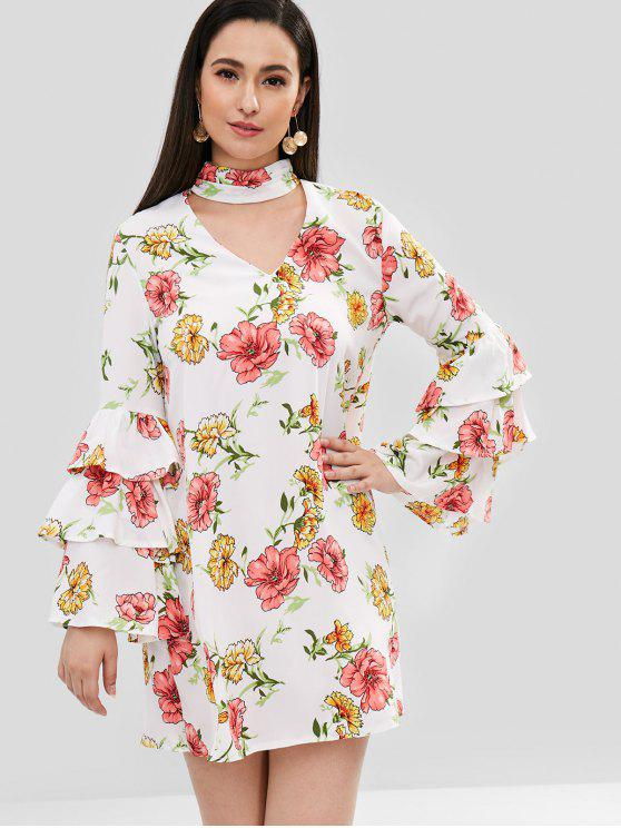 affordable Choker Bell Sleeve Flower Dress - WHITE L