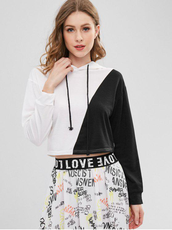lady Color Block Cropped Pullover Hoodie - MULTI S