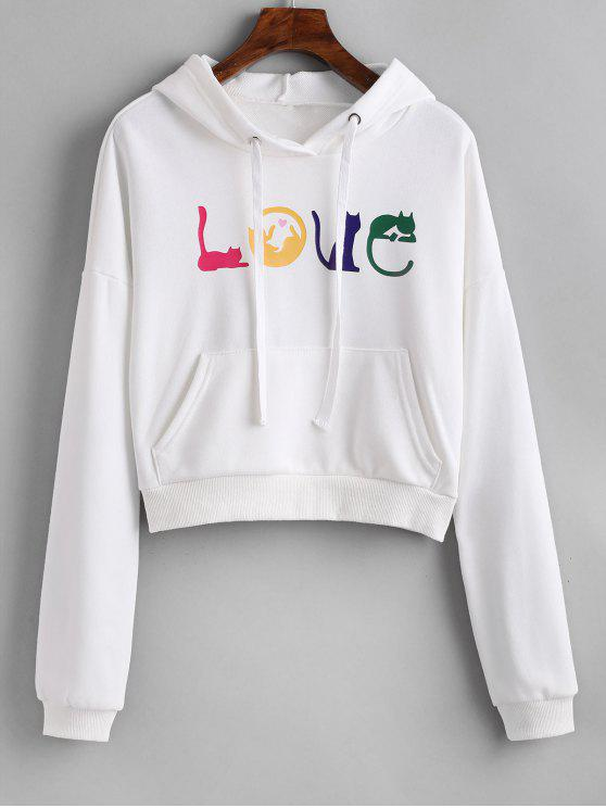 latest Letter Graphic Front Pocket Hoodie - WHITE ONE SIZE