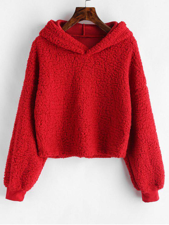 womens Loose Fit Faux Fur Hoodie - RED L
