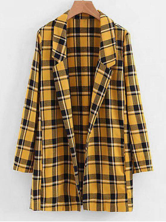 ladies Side Slit Open Front Checked Coat - MUSTARD M